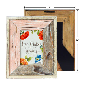 Lisa Audit Distressed Wood 4-inches by 6-inches Picture Frame, Weathered Pink/Natural