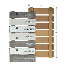 Load image into Gallery viewer, Precious Memories Plank Collage Photo Display with Linen, Rustic Metal Clips
