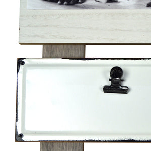 Precious Memories Plank Collage Photo Display with Linen, Rustic Metal Clips