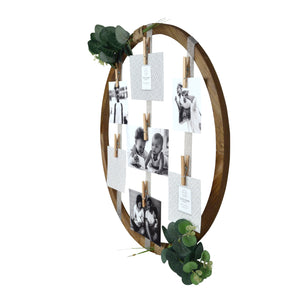 Hanging Ribbon Collage Circular Wall Display, 7 Clothespin Clips
