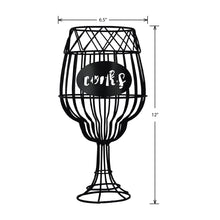 Load image into Gallery viewer, Prinz Wine Glass Shaped Black Metal Cork Catch