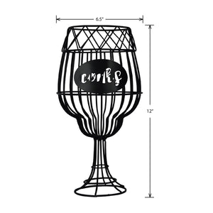 Prinz Wine Glass Shaped Black Metal Cork Catch
