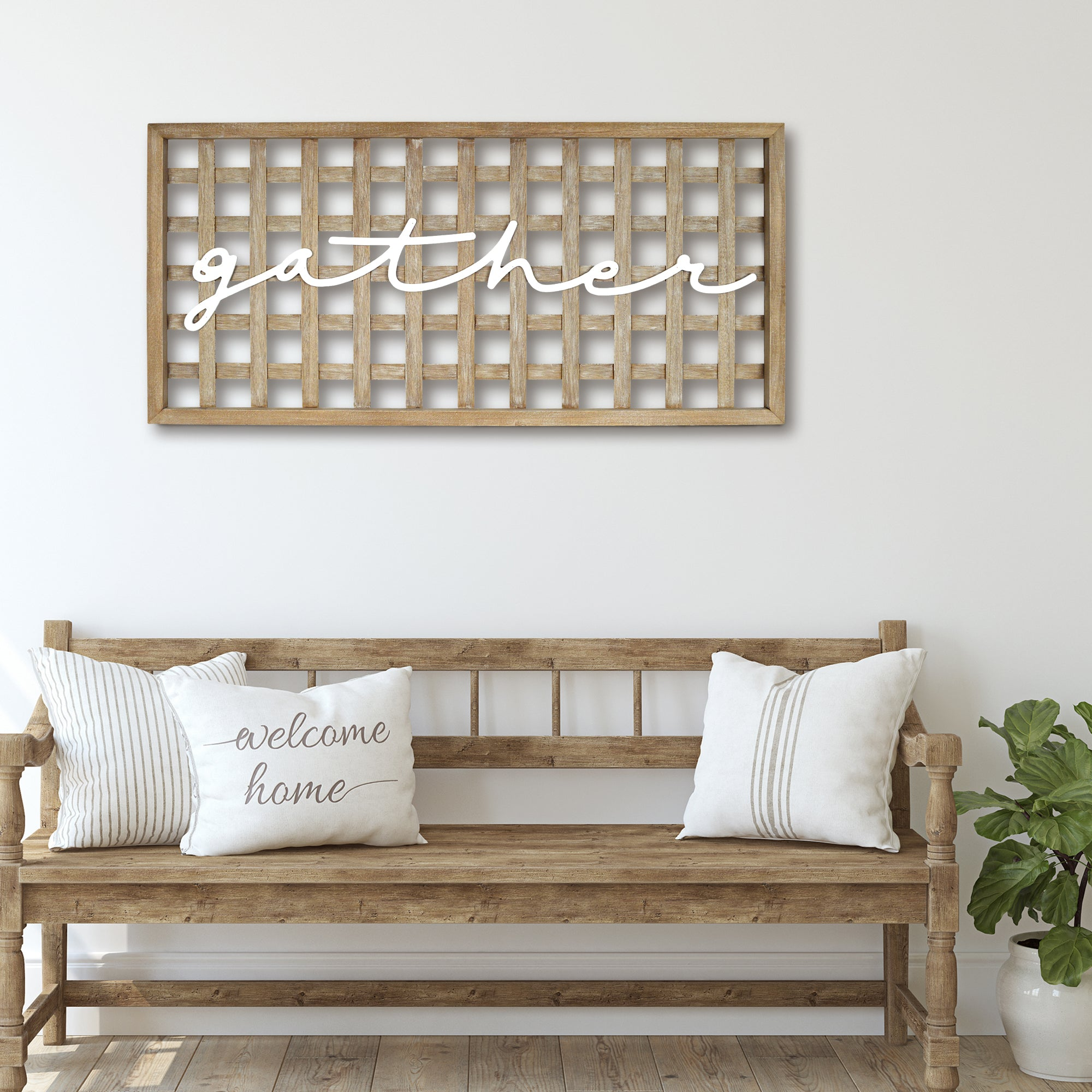 "New View Studio 40""x 20"" Gather Wooden Lattice Wall Art"