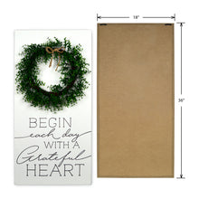 "Load image into Gallery viewer, New View Studio 18""x 36"" Begin Each Day Wood Box with Faux Greenery Wall Art"