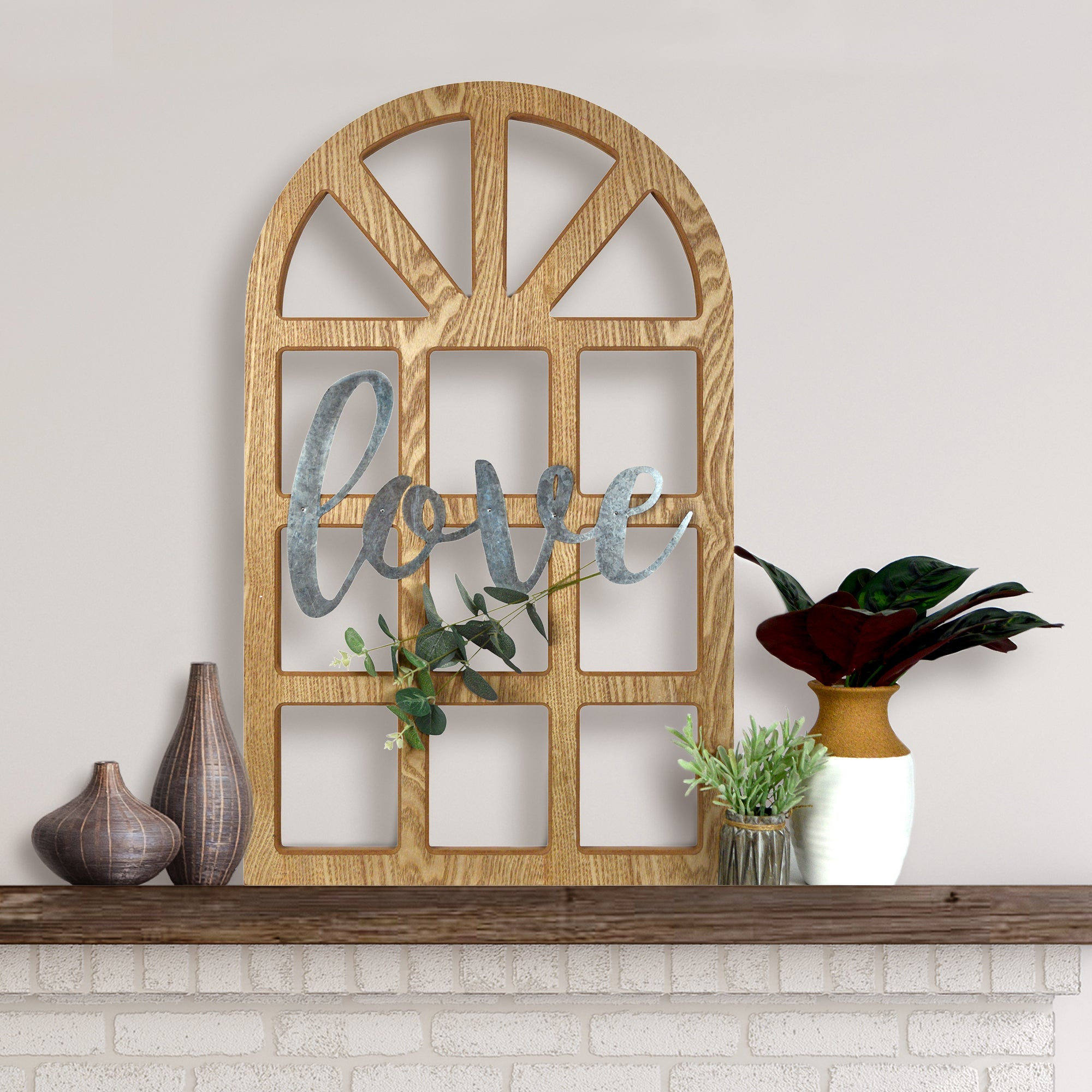 Love Cathedral Window Hanging Wall Sign