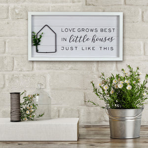 "New View Studio 17.5""x 9"" Love Grows Best Reverse Box With Metal Element Wall Art"