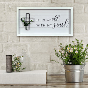 "New View Studio  17.5""x 9"" It Is Well With My Soul Reverse Box With Metal Element Wall Art"
