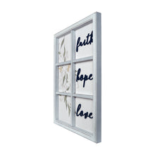 "Load image into Gallery viewer, New View Studio 17""x 22"" Faith Hope Love Decorative Window pane Wall Art Hanging Plaque"