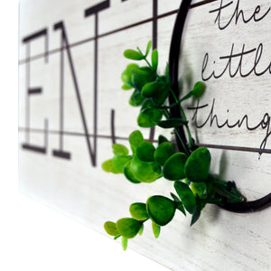 Enjoy The Little Things Rustic Plank Whitewashed Wall Sign