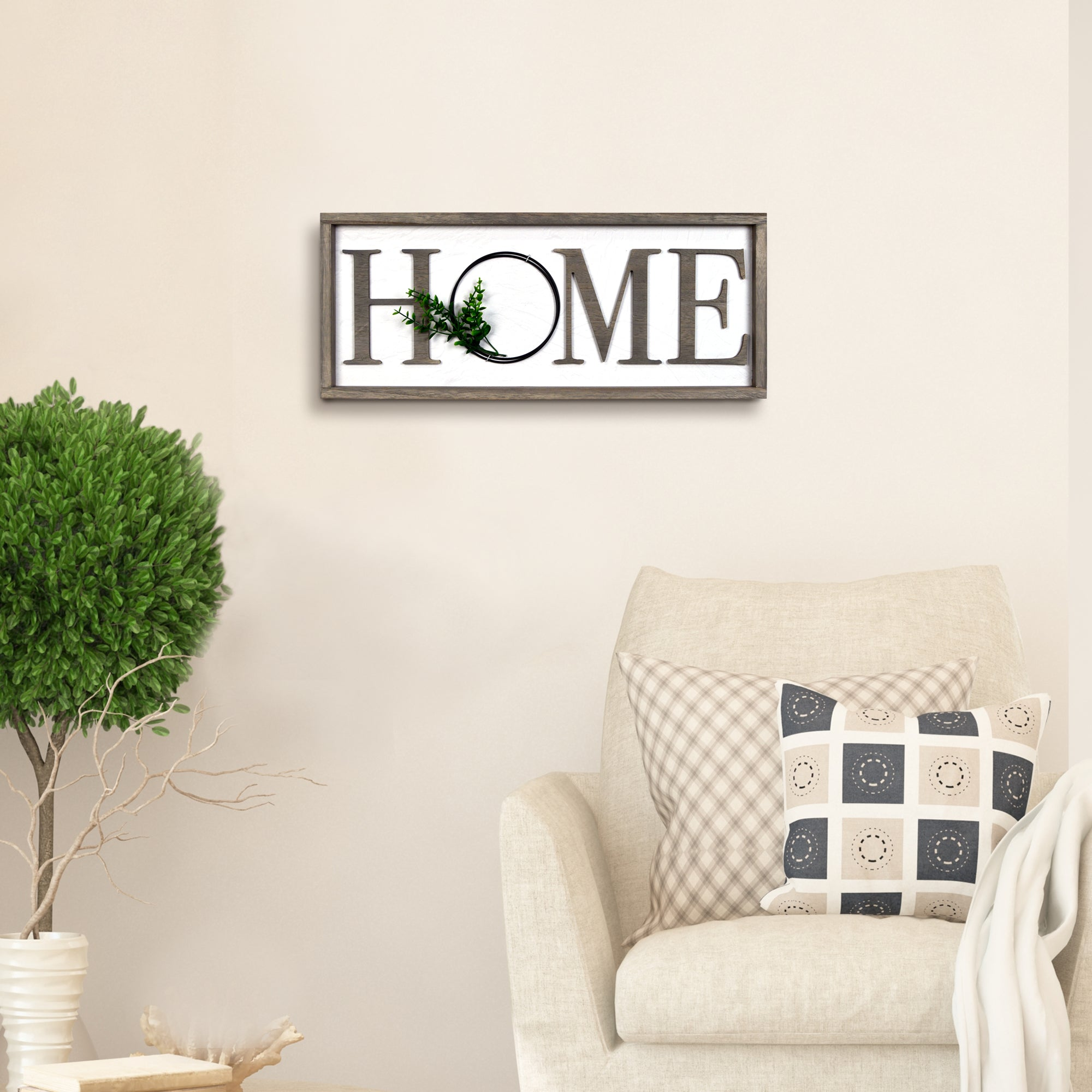 Home Rustic Real Barnwood Whitewashed Plaque