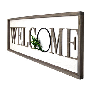 Welcome Rustic Real Barnwood Whitewashed Plaque