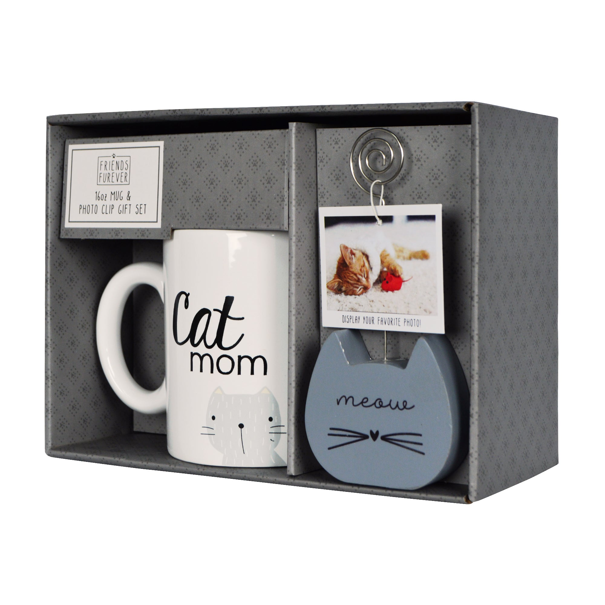 Cat Mom Photo Clippie and Ceramic Coffee Mug Gift Set