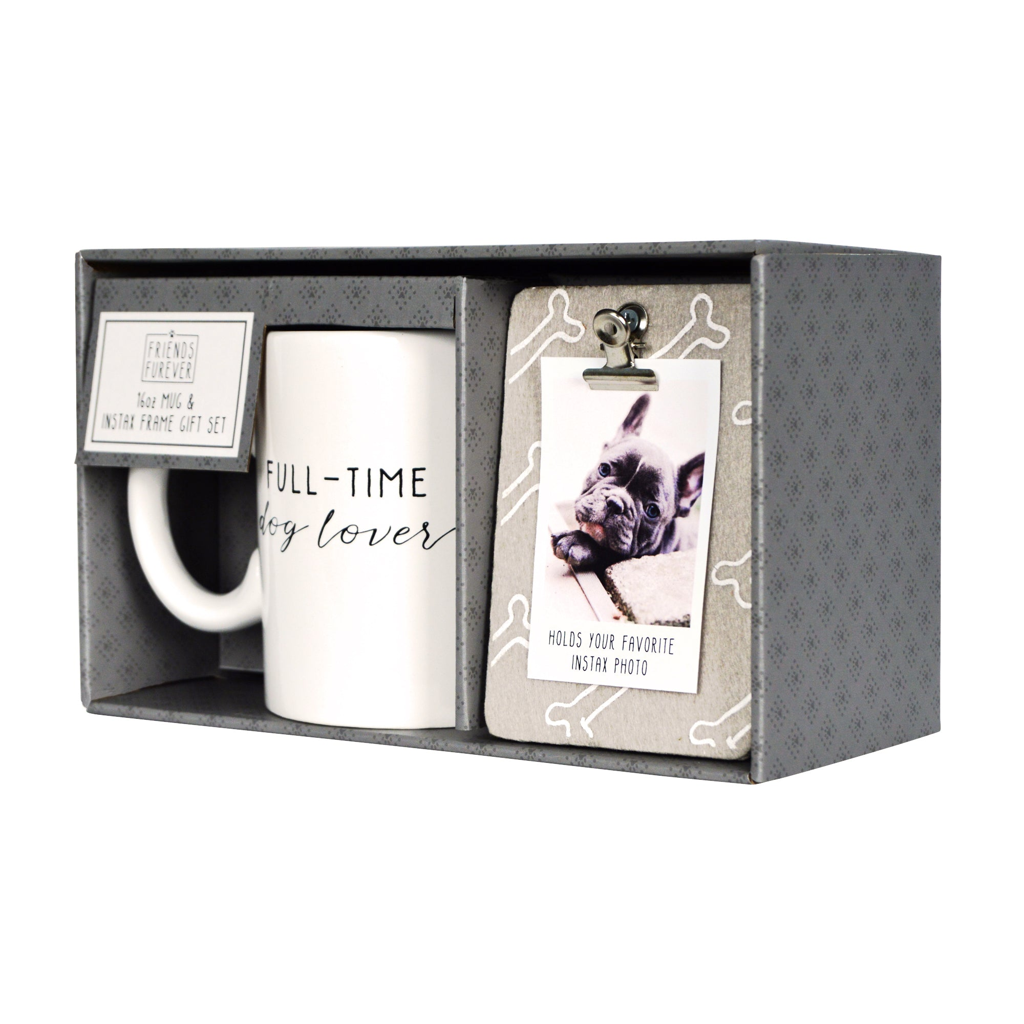 Dog Lover Clip Photo Frame and Ceramic Coffee Mug Gift Set
