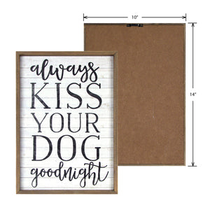 "New View Studio 10""x 14"" Always Kiss Your Dog Goodnight Distressed Wash Wall Art"