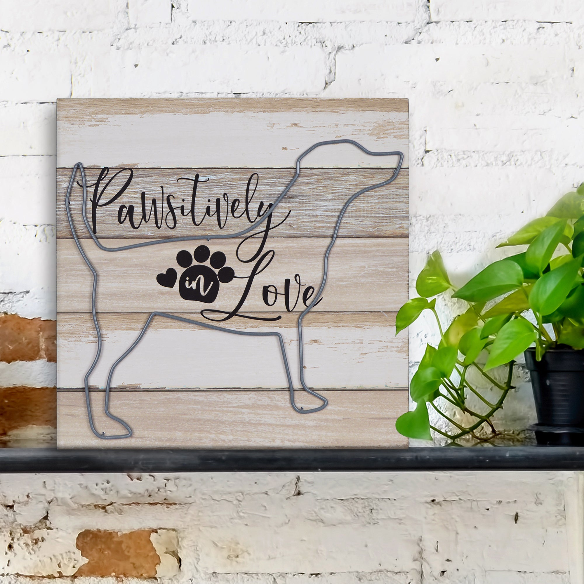 "New View Studio 14""x 14 Pawsitively in Love Wire Dog Distressed Wall Art"