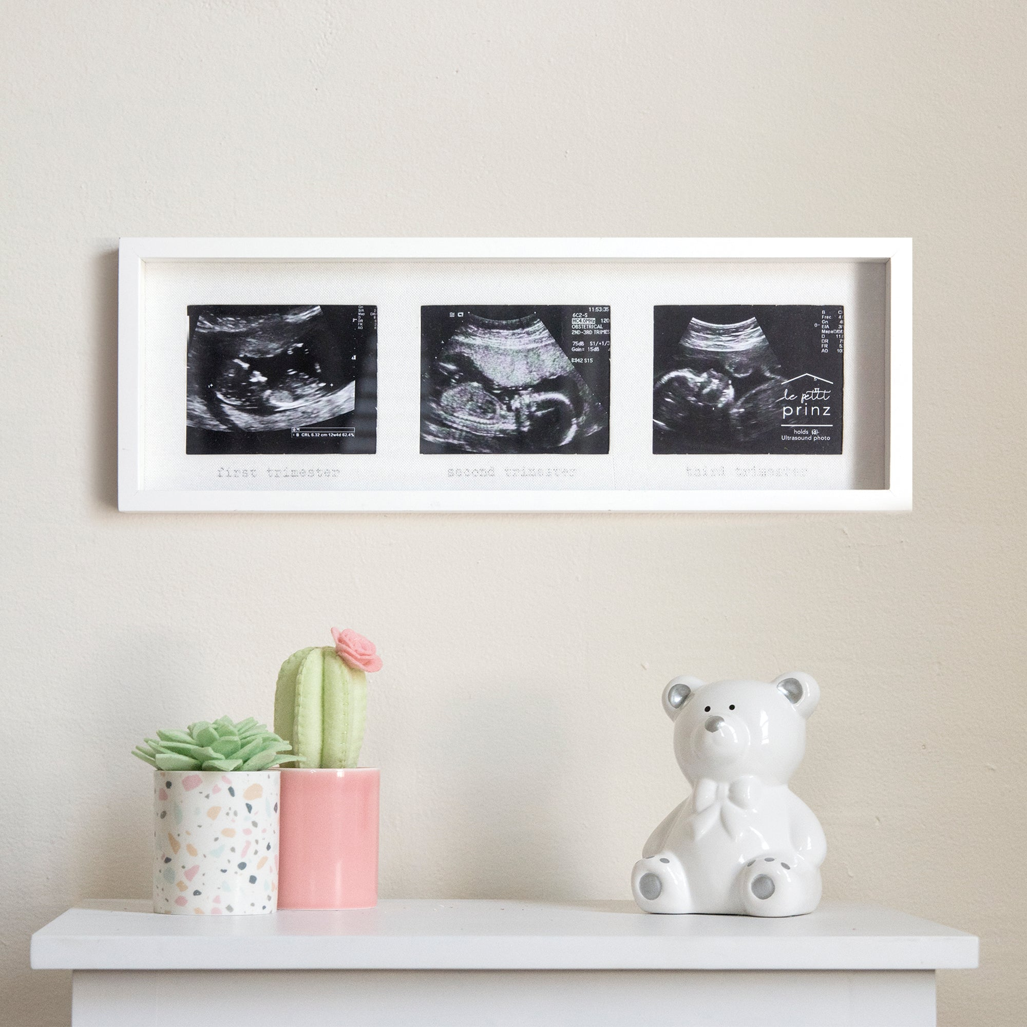 3 Photo Opening Sonogram Trimester Horizontal Picture Frame