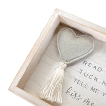 Load image into Gallery viewer, Kiss Me Goodnight Plush Heart Decorative Nursery Wall Plaque