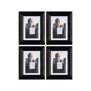 Set of Four, Midtown 4-Inch by 6-Inch Picture Frame, Glossy Black