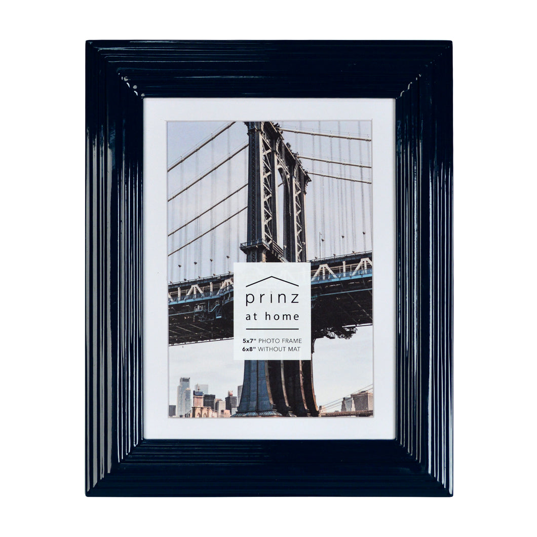 Set of Four, Midtown 5-Inch by 7-Inch Picture Frame, Glossy Blue