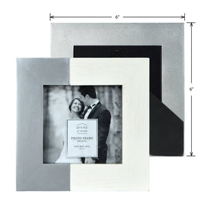 Wedding Two-Tone 4 x 4-inch Square Wood Picture Frame, White-Silver