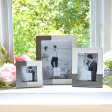 Load image into Gallery viewer, Wedding Two-Tone 5 x 7-inch Wood Tabletop Picture Frame, White-Silver