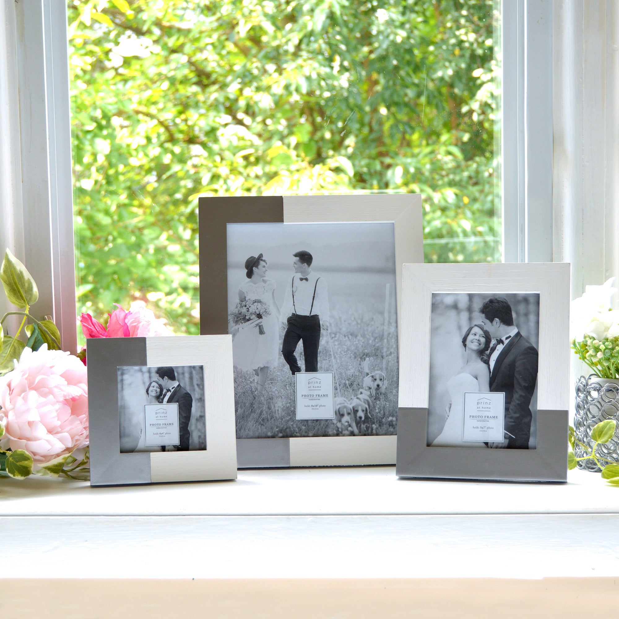 Wedding Two Tone 8 x 10-inch Wood Picture Frame, White-Silver