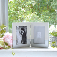 Load image into Gallery viewer, Wedding 5 x 7-inch Two-Tone Hinged Double Picture Frame, White-Silver