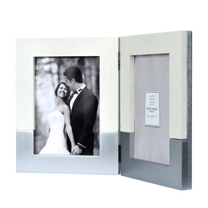 Wedding 5 x 7-inch Two-Tone Hinged Double Picture Frame, White-Silver