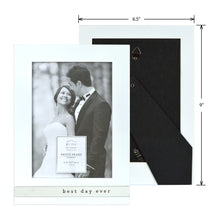 Load image into Gallery viewer, Wedding Best Day Ever Metal Band Glossy White Picture Frame