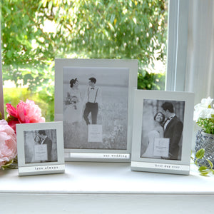 Wedding Best Day Ever Metal Band Glossy White Picture Frame