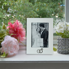 Load image into Gallery viewer, Wedding Ring Embellished 5 x 7-inch White Picture Frame