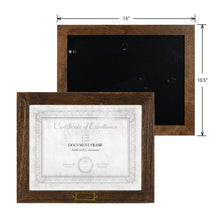 Load image into Gallery viewer, Cottage 11 x 8.5 Walnut Molded Wood Grain Document Frame