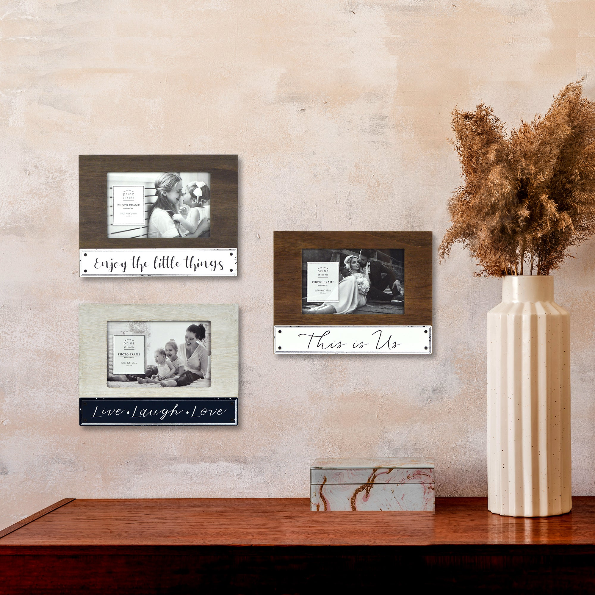 Enjoy the Little Things 4-inches by 6-inches Plank Horizontal Picture Frame