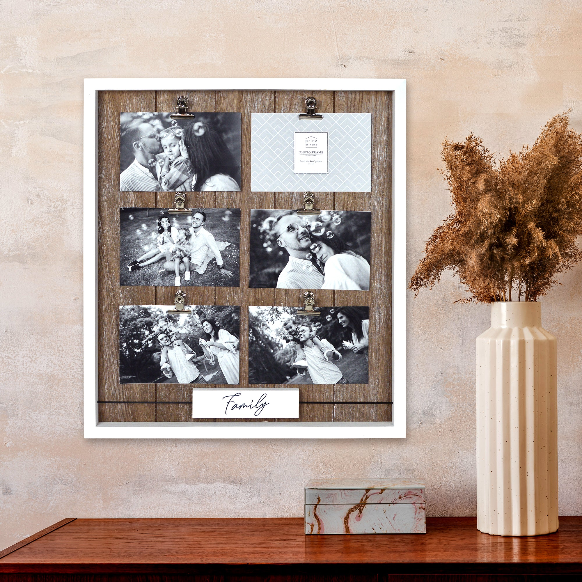 Prinz 6 Photo Opening Family Boxed Wood Collage Picture Frame