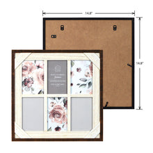 Load image into Gallery viewer, Reclaimed Crosshatch Wood Collage 4 x 6 Picture Frame, Walnut-White