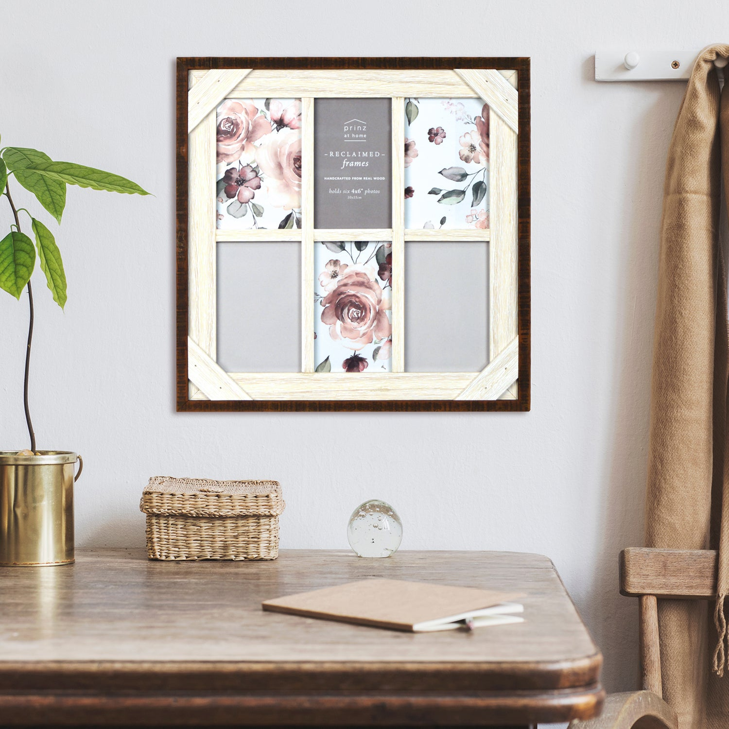 Reclaimed Crosshatch Wood Collage 4 x 6 Picture Frame, Walnut-White