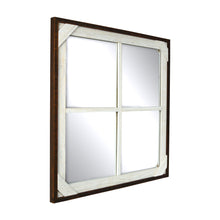 Load image into Gallery viewer, Reclaimed 20 x 20-inch Crosshatch Wood Framed Mirror, Walnut-White