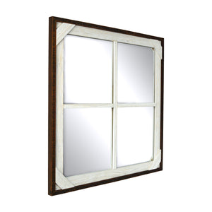 Reclaimed 20 x 20-inch Crosshatch Wood Framed Mirror, Walnut-White