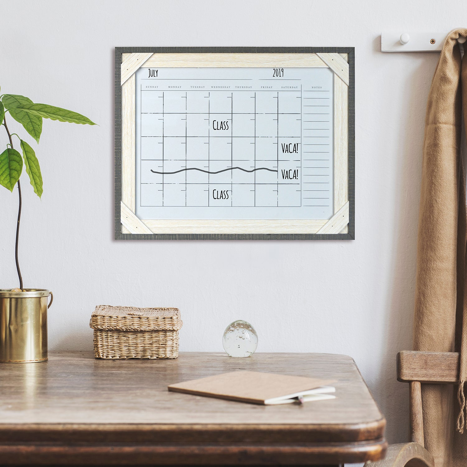 Reclaimed 16 x 20 Crosshatch Wood Frame Calendar