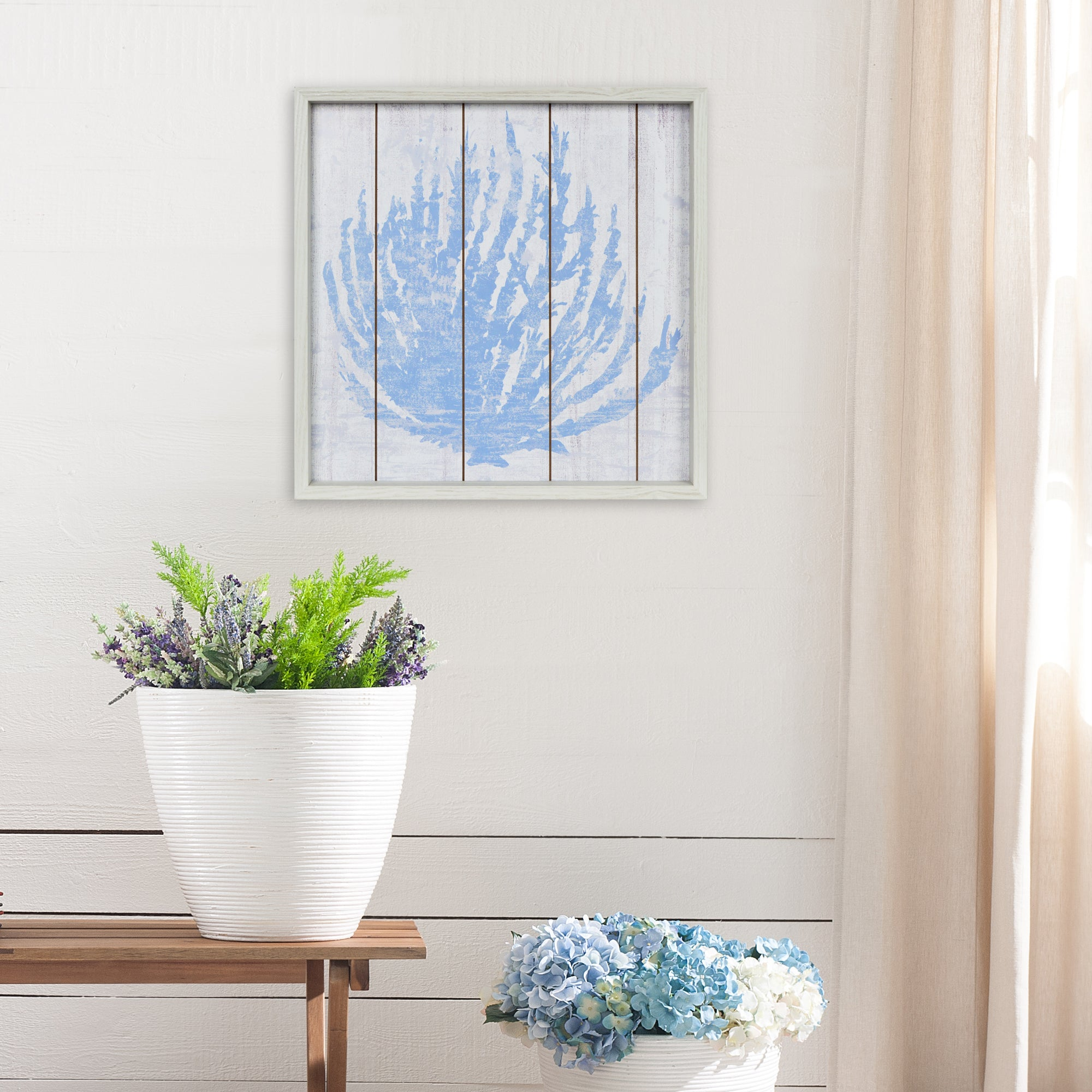 Framed Blue Coral 18-inches by 18-inches Coastal Decoupaged Wall Art