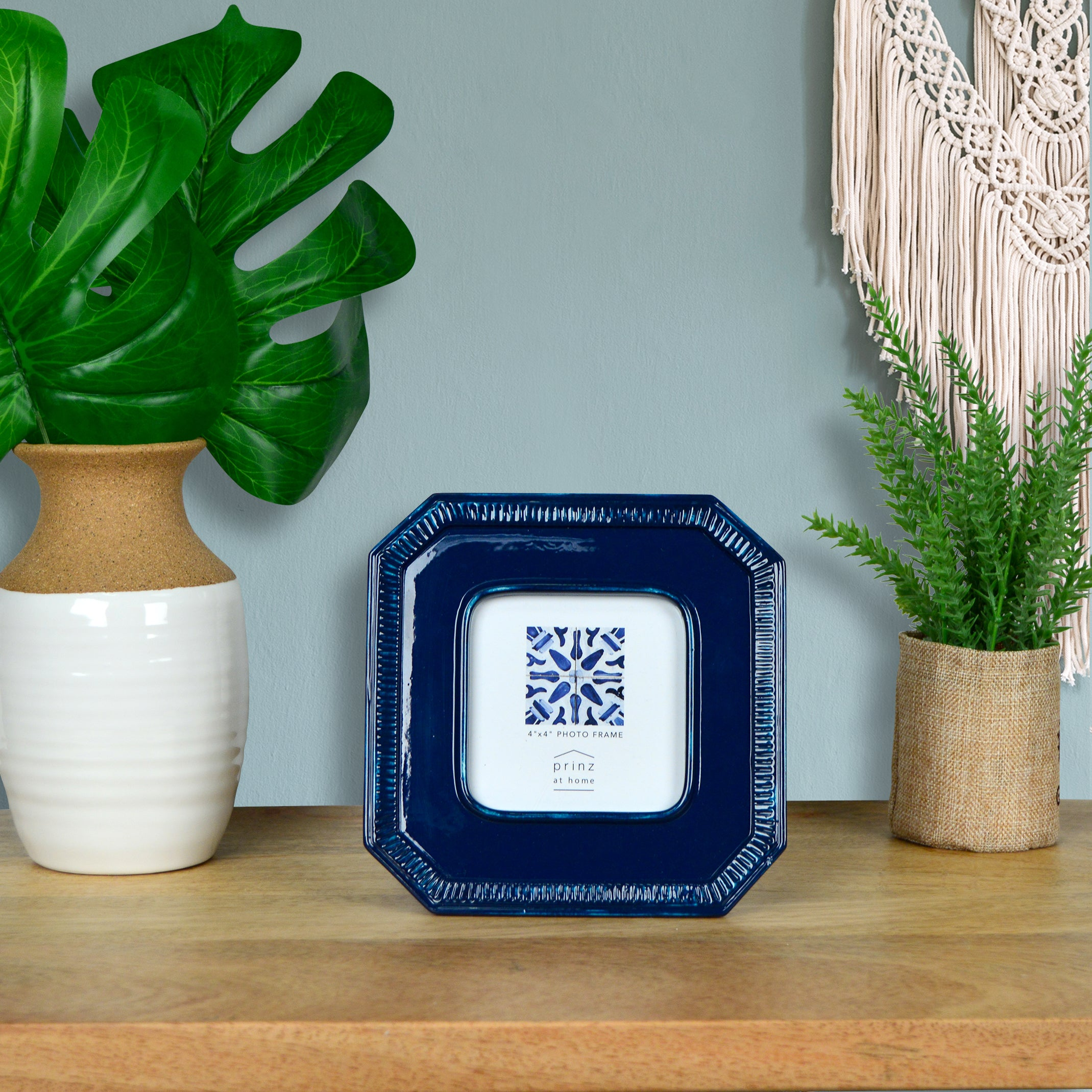 Mixed & Mingled 4 x 4 Beaded Picture Frame, Dark Blue