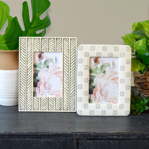 Mixed & Mingled 4 x 6 Embossed Resin Picture Frame, Gray-Cream