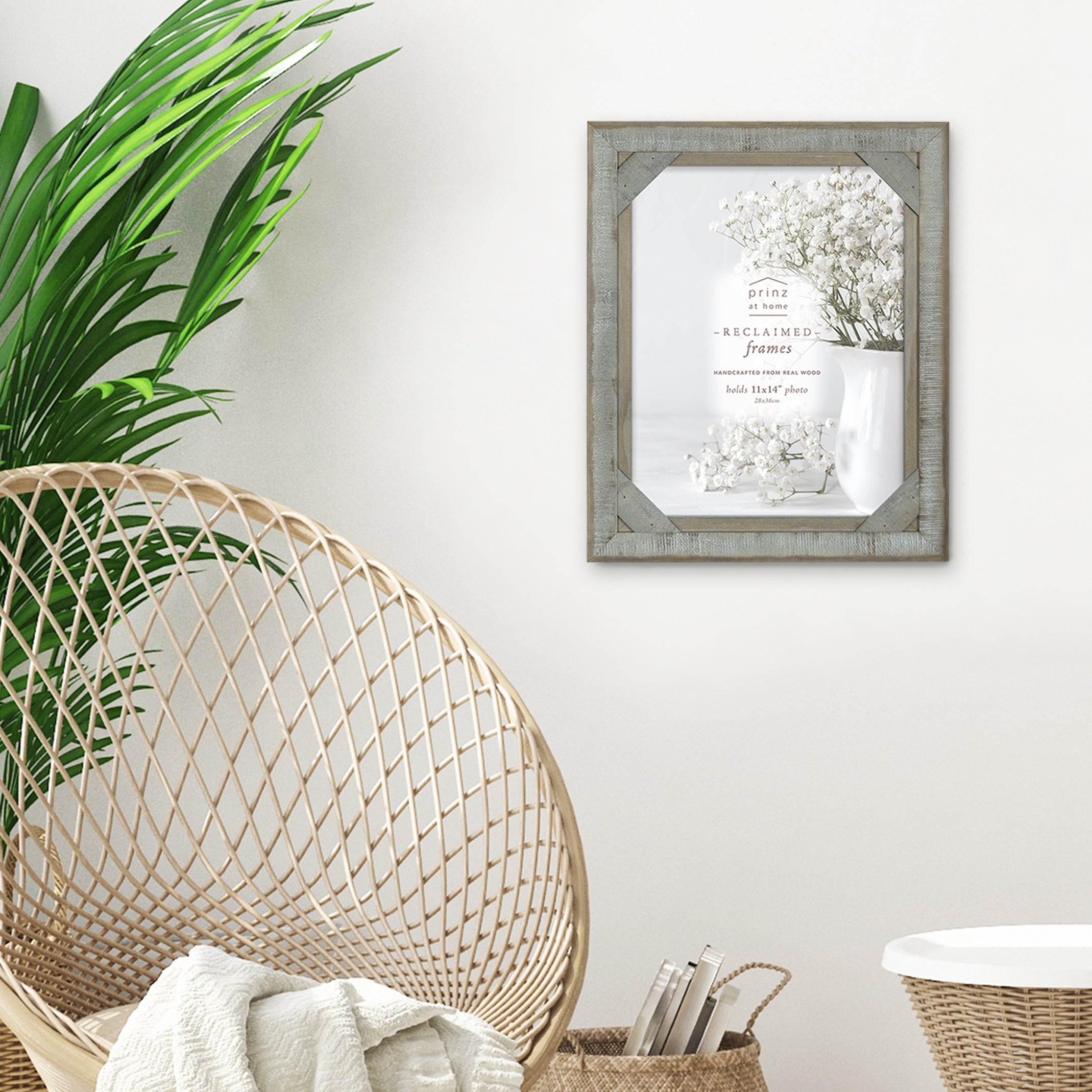 Mixed & Mingled 11 x 14 Crosshatch Wood Picture Frame, Gray