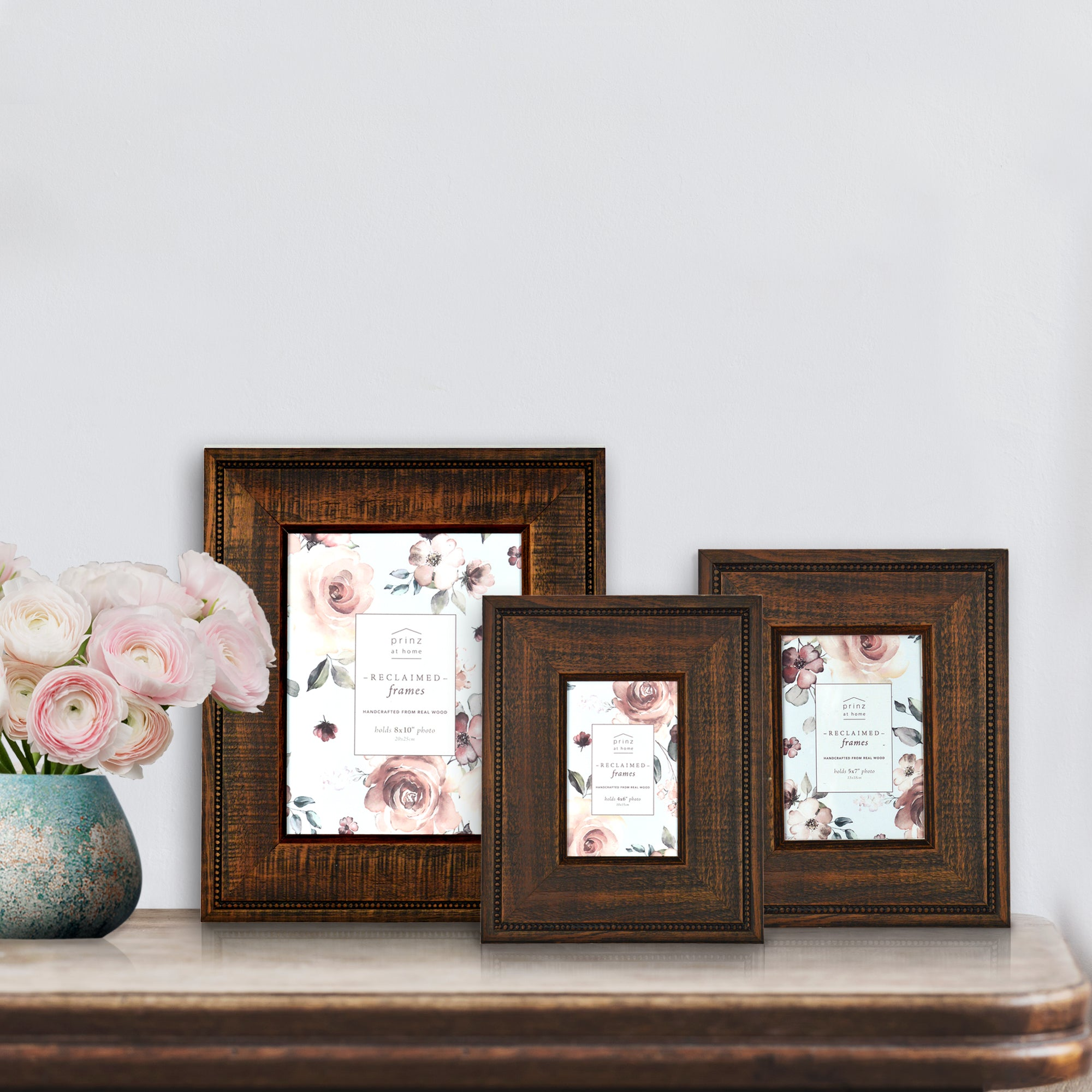 Reclaimed 5 x 7-inch Beaded Rustic Wood Picture Frame, Walnut