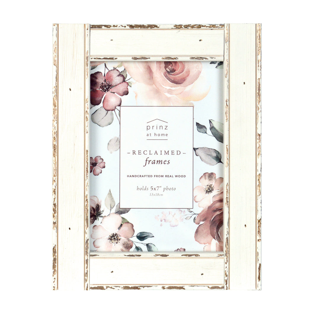 Set of Four, Reclaimed Metallic 5-Inch by 7-Inch Wood Picture Frame, Antique White