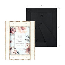 Load image into Gallery viewer, Set of Four, Reclaimed Metallic 5-Inch by 7-Inch Wood Picture Frame, Antique White