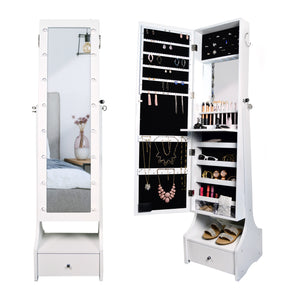 "60"" Jewelry Organizer Armoire with Full-Length Lighted Mirror, Makeup Storage and Hooks, White"