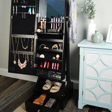 "Load image into Gallery viewer, 60"" Jewelry Organizer Armoire with Full-Length Lighted Mirror, Makeup Storage and Hooks, Black"