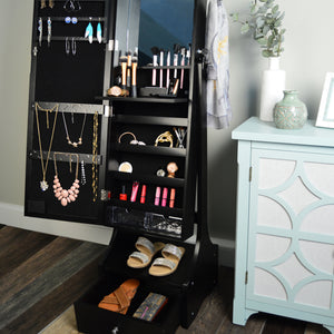 "60"" Jewelry Organizer Armoire with Full-Length Lighted Mirror, Makeup Storage and Hooks, Black"