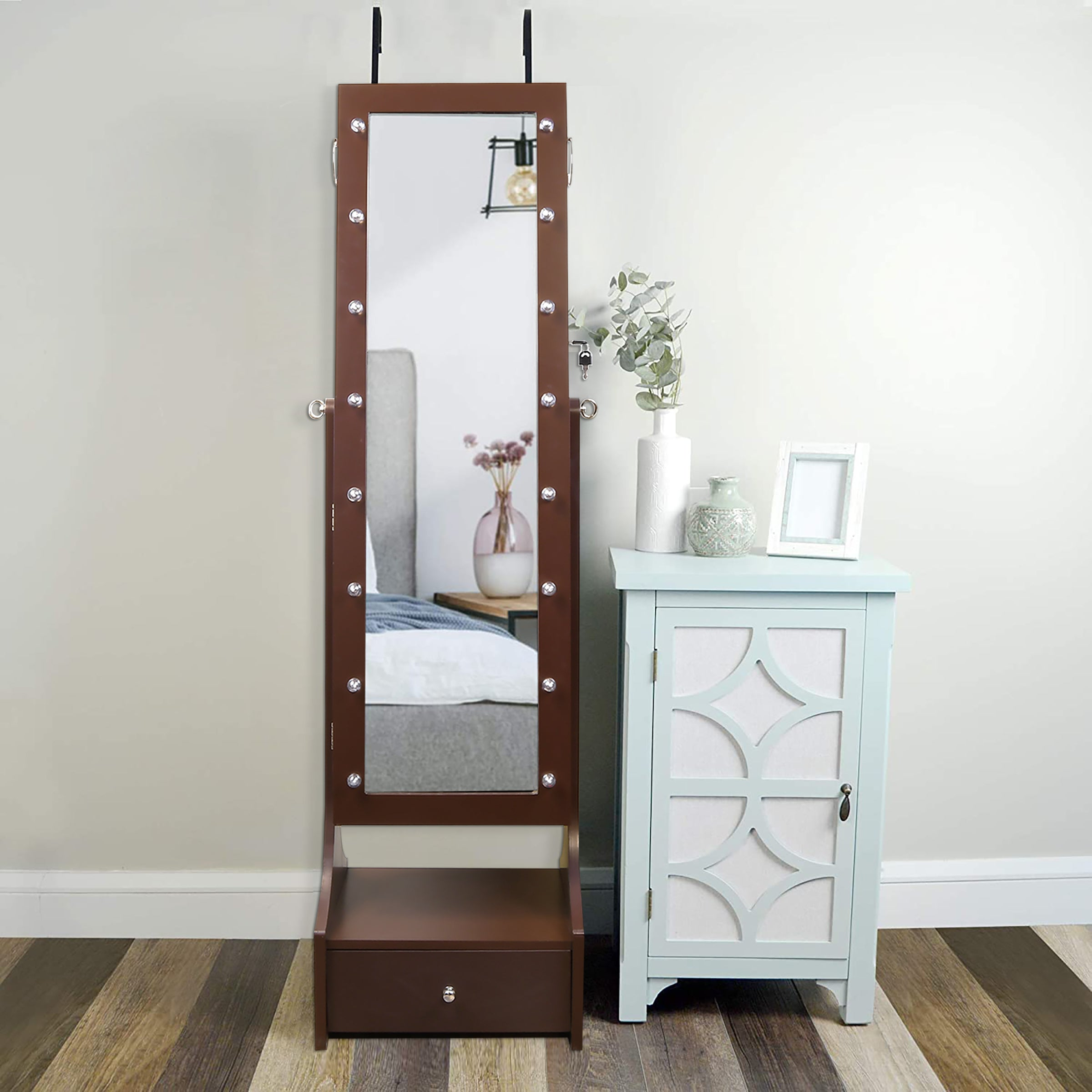 "60"" Jewelry Organizer Armoire with Full-Length Lighted Mirror, Makeup Storage and Hooks, Brown"